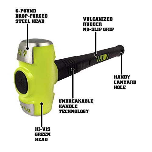 Wilton 20616 6-pound HEAD, 16 B.A.S.H Sledge Hammer with Safety Plate Securing Head to Handle