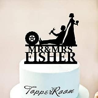 Wini2342ckey Auto Mechanic Wedding Cake Topper,Car Mechanic Cake Topper,Funny Wedding Cake Topper,Wrench Tools,Bride and Groom,Mr & Mrs Cake Topper