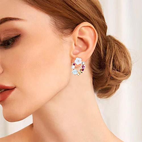 Yienate - Orecchini a perno per donne e ragazze, motivo bohémien, con fiore di perle