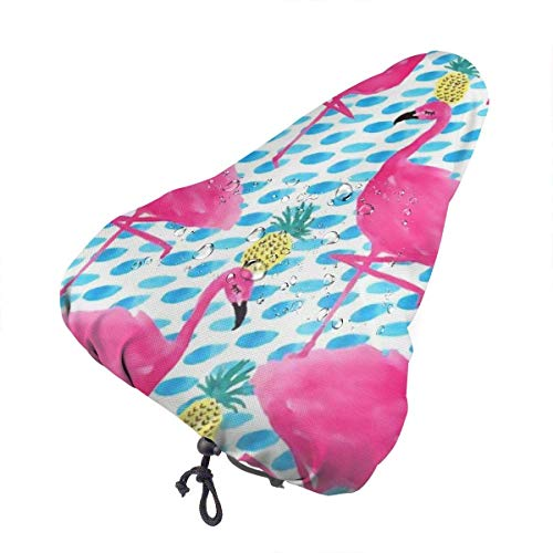Funda impermeable para sillín de bicicleta, diseño de flamencos rosados y piñas, funda para asiento de bicicleta para hombres y mujeres, funda para la lluvia cómoda para asiento de bicicleta co