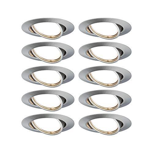 Paulmann EBL 93399 Base LED Einbauleuchte rund max. 10 Watt Einbaustrahler Eisen gebürstet Einbaulampe Metall Deckenspot GU10