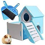 Casa de Madera para hámsters Mascota Casa Pequeños Animales Ejercicio Jugar Juguete Pequeña casa para Dormir para Mascotas Doble Capa Villa balcón de Montaje para ratón Chinchilla Rata jerbo