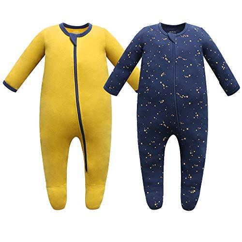 Owlivia Pijama para bebé de algodón orgánico, de manga larga, con pies Cielo estrellado y mostaza 3-6 Meses