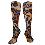 Medical&Varicose Veins Compression Socks (15-20 MmHg) For Girls, Comic Music Guitar Nursing Performance Socks For Air Travel/Hiking