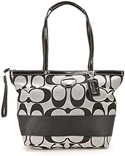 Black and White Logo Printed Shoulder Bag: Black and White Shoulder Bag