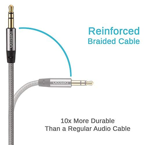 Betron Nylon Braided Premium 3.5mm Auxiliary Aux Cable Audio Jack Cord Line for Headphones, iPods, iPhones, iPads, Home/Car Stereos and More 1 Metre