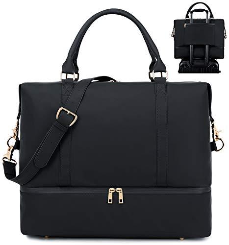 Womens Travel Weekend Bag Waterproof Overnight Carry on Shoulder Duffel Beach Tote Bag (Leather Black)