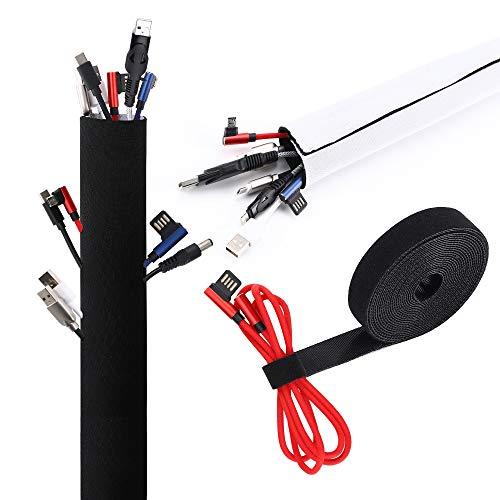 VoJoPi Organizador Cables, 300cm Ajustable Recoge Cables de Neopreno con 300cm Sujeta...