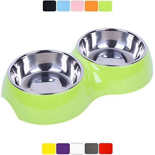 DDOXX Doppel-Fressnapf, rutschfest | viele Farben & Größen | für kleine & große Hunde | Futter-Napf Katze doppelt | Hunde-Napf Hund | Katzen-Napf Edelstahl-Napf | Melamin-Napf | Grün, 2 x 700 ml