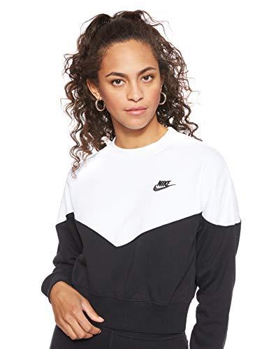 Nike Damen W Nsw Hrtg Crew Flc-ar2505 Langarm Pullover, Schwarz (Black/White/010), L
