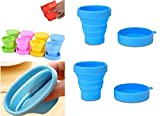 Right Traders Portable Water Silicone Cup Folding Cup Pocket Friendly Useful for Outdoor Travel Hiking Camping & Drinkware Collapsible Foldable Cup Bowl with Lid Tools (Multicolor) (170 Ml) - (2 Pcs)