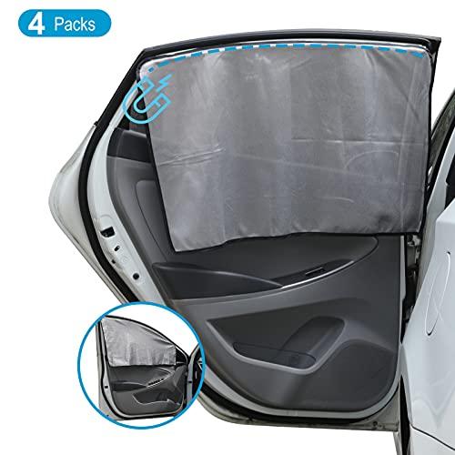 4 Stück Auto Sonnenblenden für Vordere & Hintere Seitenfenster, Unidirektionales Perspektivisches Design Magnetisch Vorhänge, UV Schutz Hitzeschutz Sonnenschutz Rollo für Kinder...