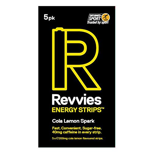 Revvies Energy Strips | Cola Lemon | 25 Strips | 40mg Caffeine Strip | 2 Strip = Coffee/Energy Drink | Sugar-Free | Vegan | 5 x 5PK