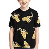 Camisetas para niños Camiseta de algodón con Cuello Redondo y Manga Corta con diseño de saxofón Dorado para niños