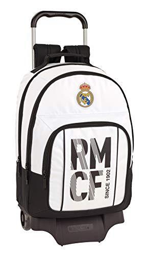 Real Madrid C.F. Mochila Grande Ruedas  Carro  Trolley  43 cm  Blanca Negra