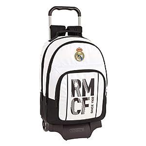 41E6MOfqLjL. SS300  - Real Madrid C.F. Mochila Grande Ruedas, Carro, Trolley, 43 cm, Blanca/Negra