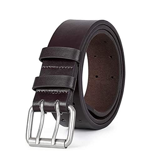 DUCIBUTT Cinturón de piel para hombre de 38 mm de ancho, con doble espiga para vaqueros, pantalones cortos, monos, pantalones de negocios, cintura de 76 cm, marrón, 120 cm