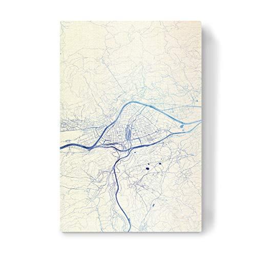 artboxONE Leinwand 60x40 cm Städte Innsbruck O?sterreich Blue Infusion Map II von Makadi Atatu