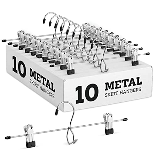 Heavy-Duty Add-On Metal Skirt Hangers with Clips, Multi Stackable Add on Metal Hangers, Adjustable Clip Pants Hanger, Skirt Hanger with Clips, Chrome Hook, Cascading Clip Hanger Jeans (10 Pack)