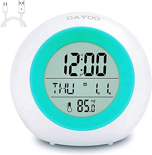 DAYOO Kids Alarm Clock, Digital Clock for Kids with 7 Color Changing Night Light, Snooze, Touch Control, Temperature for Children Bedroom - Rechargeable Battery Version