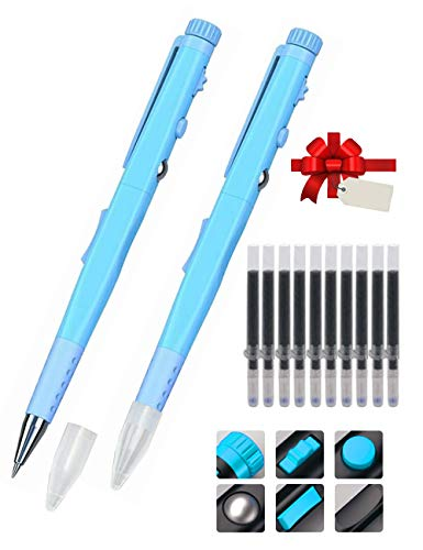 Remall Stress-Relief Fidget Pen 2 Packs, Fidget Ballpoint Pens with 10 Black Ink Refills, Fidgeting Toys for Kids, Adults, ADHD People at Home Office School