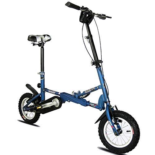DPGPLP Bicicleta Plegable Coche Plegable 12 Pulgadas V Freno Velocidad Bicicleta Hombres Y Mujeres Niños Bicicleta Mini Bicicleta Plegable Metro Bus Bicicleta Portátil,Azul