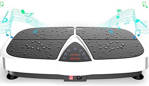 DPLQX Vibrationsplatte Fitness, Trainingsgerät Fitnessstation, mit Integrierter USB-Lautsprecher einfach tragen Rad Fern, Fitnesstraining von Zuhause,White