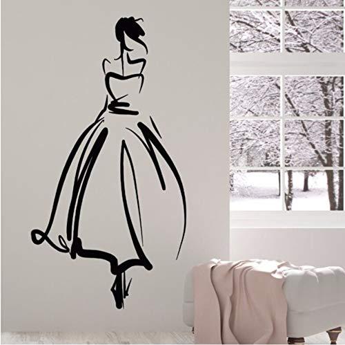 hwhz 42 X 78 cm Removable Vinyl Wall Decal Princess Beautiful Lady Stickers Wedding Salon Bride Wall Art Mural Wedding Shop Decoration