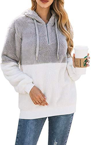 Bwiv Sudadera Mujer con Capucha Caliente Flexible Invierno Otoño en Piel Sintética Multi Color Chaqueta Polar Casual Moda Amplio Gris Claro y Blanco Empalme Talla L