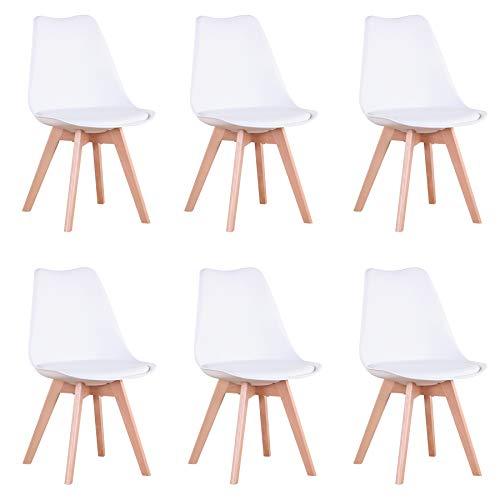 GrandCA HOME Conjunto de 6 sillas, Silla de Comedor, Silla de Estilo nórdico, Adecuada para Sala de Estar, Comedor (Blanco-6)