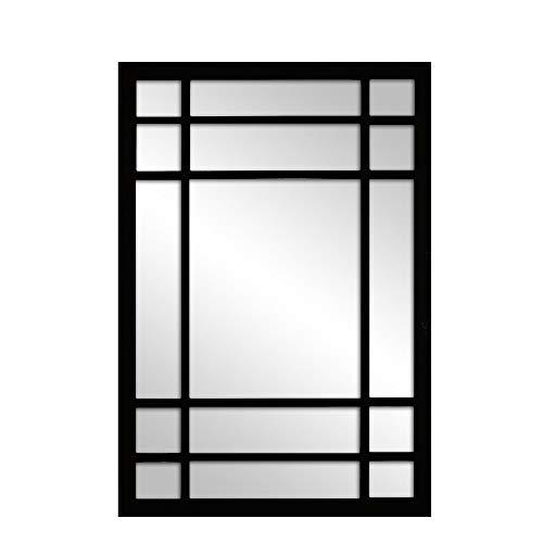 Espejo Ventana Fabricado en España – Medida (70x100 cm) Mod-Romeo | Acabado Artesanal – Espejo de Pared Ideal para Salón, Recibidor, Vestidor, Dormitorio y Baño. (Negro)