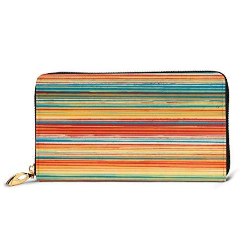 GYHJH Bunte Streifen Tapete Damen Leder Clutch Slim Compact Zipper Wallet wasserdichte große Geldbörse Durable Card Organizer mit Slots