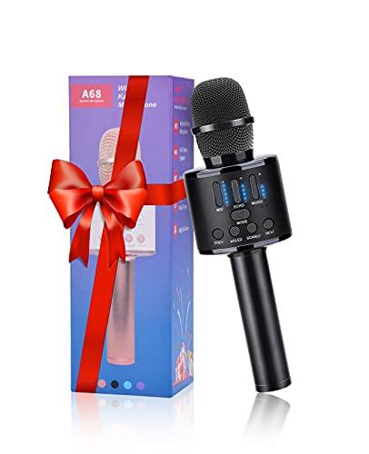 FISHOAKY Microfono per karaoke, Bluetooth, 5 in 1, microfono wireless per bambini, con altoparlante e luci LED, funzione Eco, Micro Karaoke per bambini, compatibile con telefoni Android e iOS.