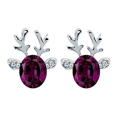 Crystal Reindeer Earrings Christmas Jewellery Sparkling Gemstone Deer Antler Rhinestone Stud Earrings with Gift Pouch Xmas Present for Pierced Ears Womens Girls (Purple)