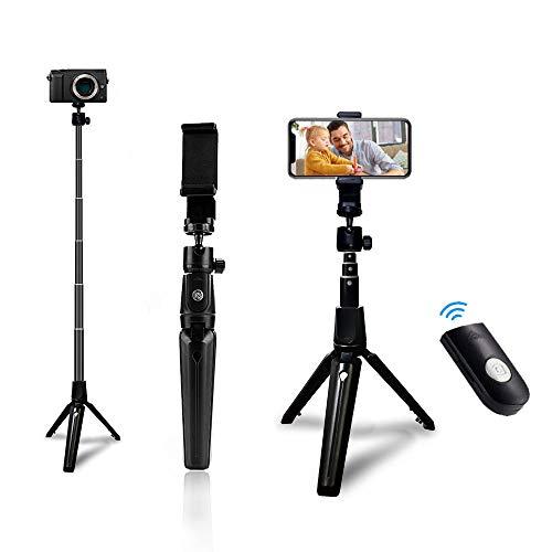 AWQM Selfie Stick Handy Stativ mit Fernauslöser, 3 in 1 Kabellos Smartphone Stativ Fernbedienung Shutter Monopod Handy Selfie Stick Bluetooth für iPhone iOS- / Android-Geräte, GoPro- & DSLR-Kameras