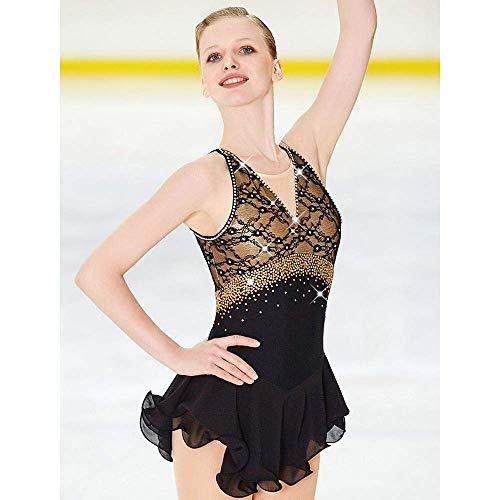 HYCy Eiskunstlauf-Kleid-Frauen-Mauml;dchen Eislaufen Kleid Schwarz Open Back Spandex Elastan Spitze hohe Elastizitauml;t-Wettbewerb Skating,Child10