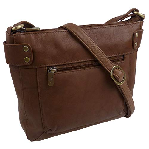 Damen Tasche Klein Classic Cross Body Handtasche aus weichem Leder von Gigi mittelbraun