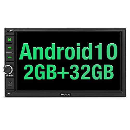 "Vanku Android 10 Radio 2 DIN con GPS Navegación, 2GB+32GB, Autoradio Android de Coche Soporte Bluetooth, Control Volante, WiFi, USB, SD, Mirror-Link, 4G, con 7"" Pantalla táctil"