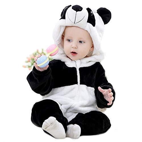 Pandabär Overall mit Kapuze aus weichem Microfleece für Kinder Größe 5-6 Jahre 110 cm