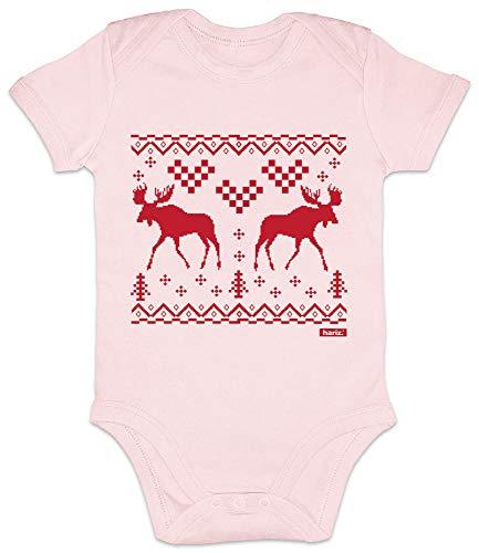 Hariz - Body de manga corta para bebé con dos renos, alce y Navidad, regalo de Navidad, árbol de Navidad, árbol de Navidad, incluye tarjeta de regalo de algodón de azúcar rosa de 12 – 18 meses