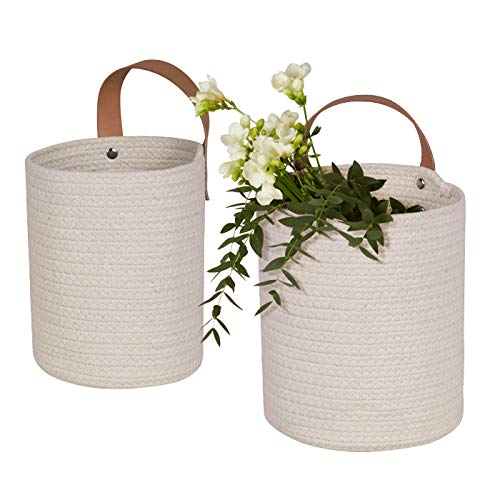 LA JOLIE MUSE Wall Hanging Storage Baskets Set of 2 - Small Cotton Rope Handle Storage Organizer, Woven Baskets for Baby Nursery Kids Gift
