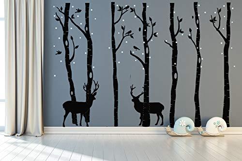 AIYANG Birch Tree Wall Stickers Birke Baum Wandtattoo Wohnzimmer Schlafzimmer Aufkleber Kinder Zimmer Wandmalereien Tapete Poster Wall Art Schlafzimmer Wohnzimmer Dekoration (7Sets-Black)