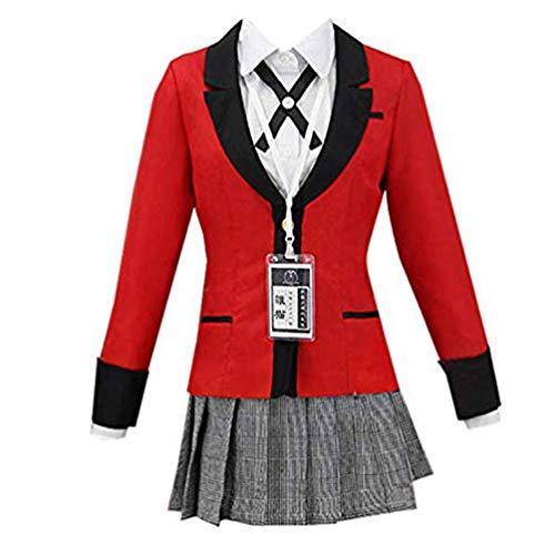 Anime Yumeko Jabami Mary Saotome Cosplay Costume School Uniform (M) Red