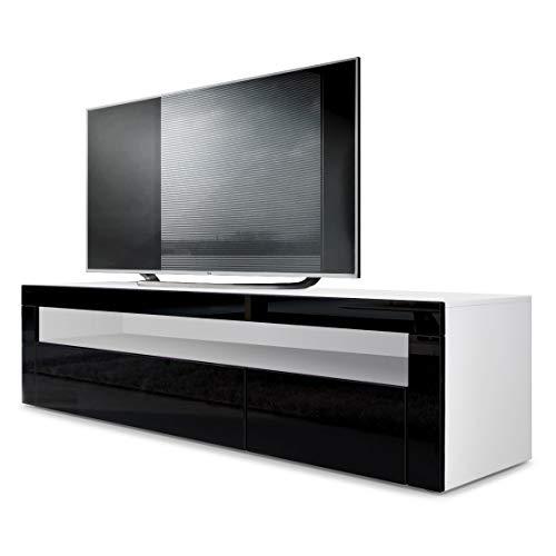 Vladon TV Board Lowboard Valencia, Korpus in Weiß matt/Front in Schwarz Hochglanz mit Rahmen in Schwarz Hochglanz