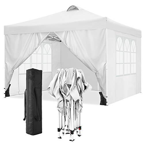 TOOLUCK Falt Pavillon 3x3 Wasserdicht UV-Schutz Pavillon Pop Up Gartenzelt with 4 Seitenteilen and Sandsacks (3x3M mit 4 Seitenteilen, Weiß)