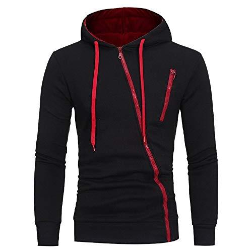Adelina Herren Kapuzenpullover Hoodie Pullover Mit Schrägem Reißverschluss Herbst Jacke Sweatshirt In Fashionable Completi Kontrastfarben (Color : Schwarz, Size : Eu S/XL)