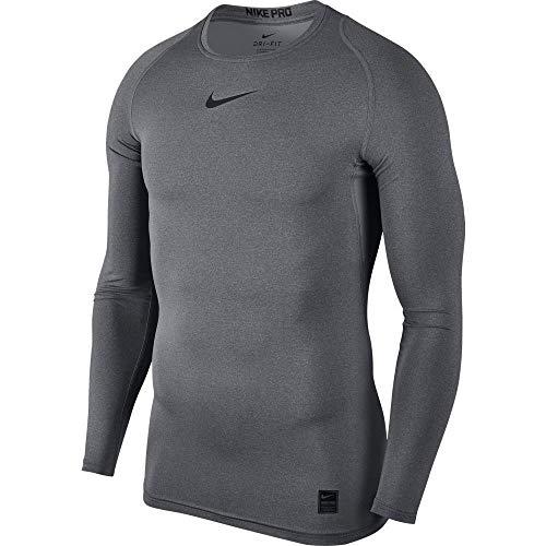 Nike - Pro - Haut à Manches Longues - Homme - Gris (Carbone chiné/Noir/Noir) - Taille: XL