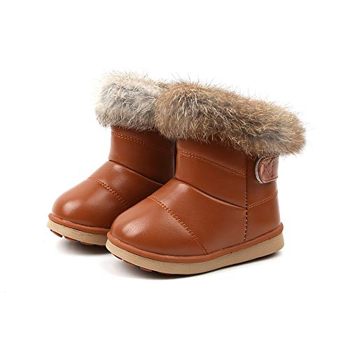 Komfyea Toddler Warm Fur Lined Winter Leather Snow Boots Cute Kids Boots (Size 23,Brown)