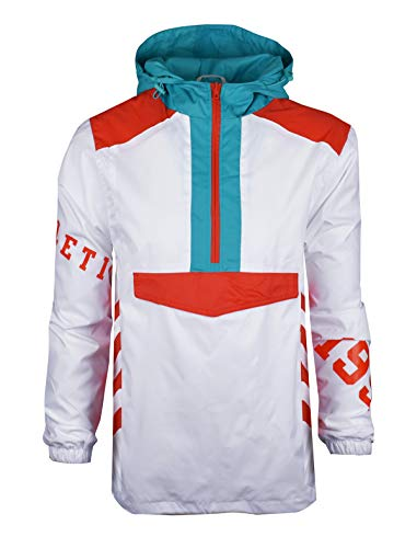 SCREENSHOTBRAND-S51910 Color Block Lightweight Racing Print Windbreaker Jacket-White-Medium