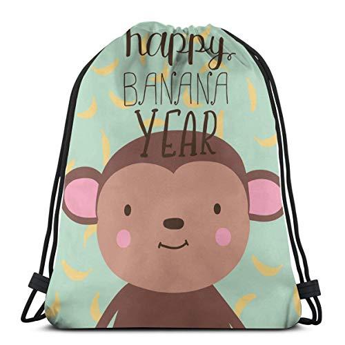Sunny R Mono y Letrero con Letras Dibujadas a Mano Feliz año del plátano Mochila con cordón Bolsa de Gimnasio Bolsas de Baile Regalo de cumpleaños para niños Adolescentes 17×14 Pulgada